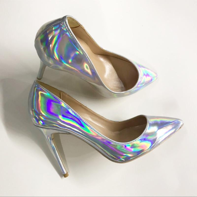 Europe et états-unis nouvelles chaussures à talons hauts de couleur magique laser 12 cm avec mince et pointu pointu 10 cm mince avec unique sexy