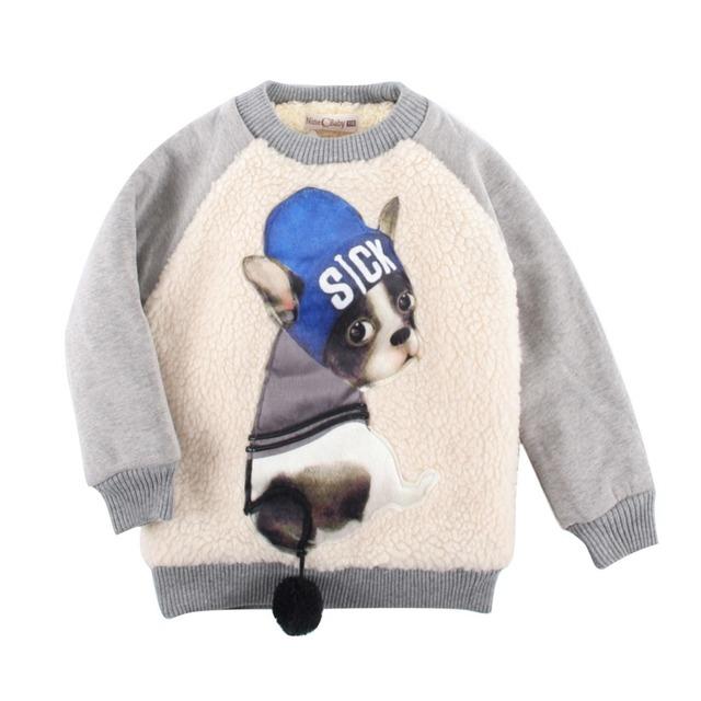 LittleSpring Baby Boy Camisolas Inverno Quente Fleece Engrossar Hoodies 2016 Moda Cão DOENTE Impressão Pulôver de Algodão Menino Outerwear