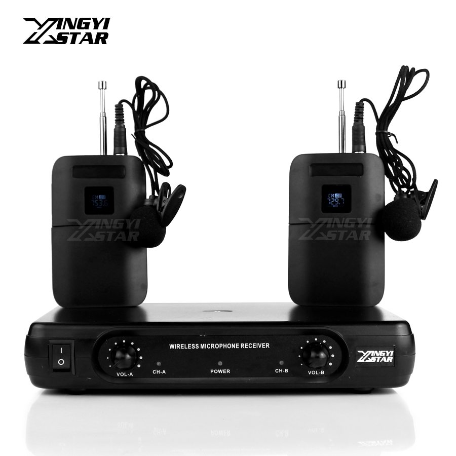 Professional Lavalier Wireless Microphone Karaoke System Dual Channels Cordless Receiver Clip Lapel Collar Mic BLX1 Transmitter