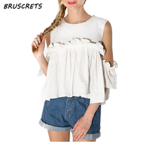 Off Shoulder Chiffon Blouse Summer Top Ruffle Womens Tops And Blouses Solid Blusas Casual O Neck