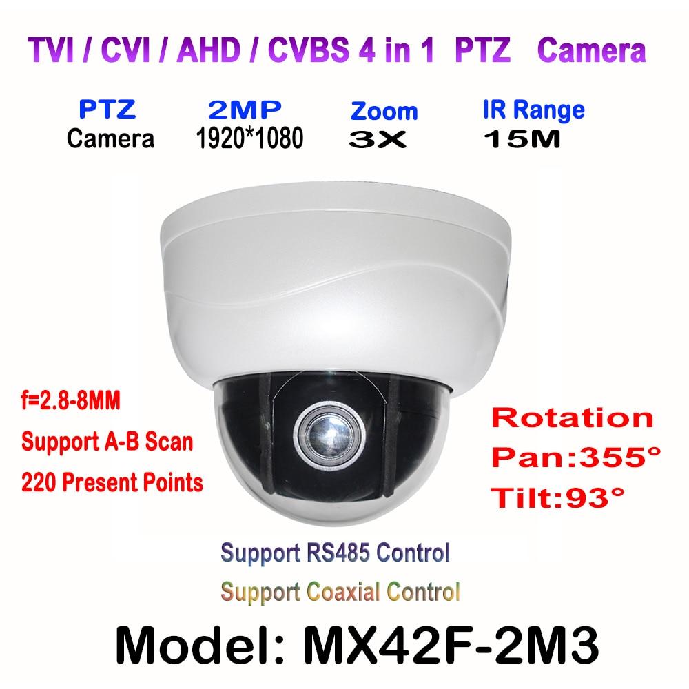 1080P 2.5'' Dome AHD CVI TVI CVBS PTZ Camera 1/2.9 for Sony CCD Sensor 2.8~8mm Auto-focus Varifocal Zoom OSD Menu 2.0MP 3 IR LED 4 in 1 ir high speed dome camera ahd tvi cvi cvbs 1080p output ir night vision 150m ptz dome camera with wiper