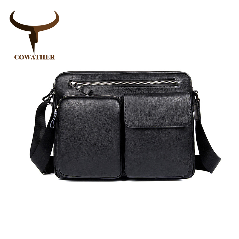 COWATHER Top Cow Genuine Leather Messenger Bags Men Travel Male Handbag Cow Leather Business Crossbody Bag For Men's Laptop-in Crossbody Bags from Luggage & Bags    1