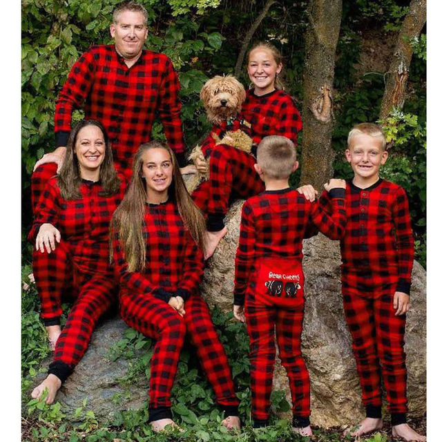 70a6bf5d0c Christmas Parent-child Sleep Jumpsuit Xmas Family Matching Pajamas Set Bear  Red Plaid Long Sleeve Adult Women Kid Baby Sleepwear