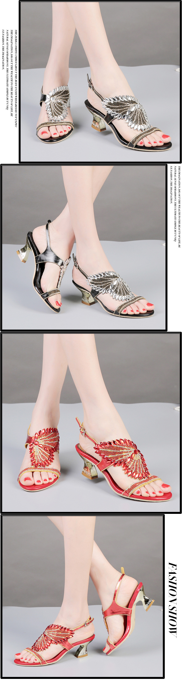 G-sparrow New Summer Womens Shoes Diamond Sandals Female Buckle Fashion Purple Gold Black Red Comfortable Thick High Heels3