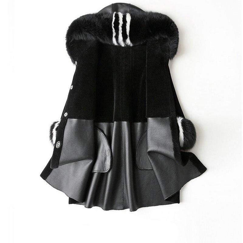 De Noir Manteau Laine Femme Femmes Des Manteaux Vestes Mouton Veste Fourrure Vraie D'hiver La A6wHT