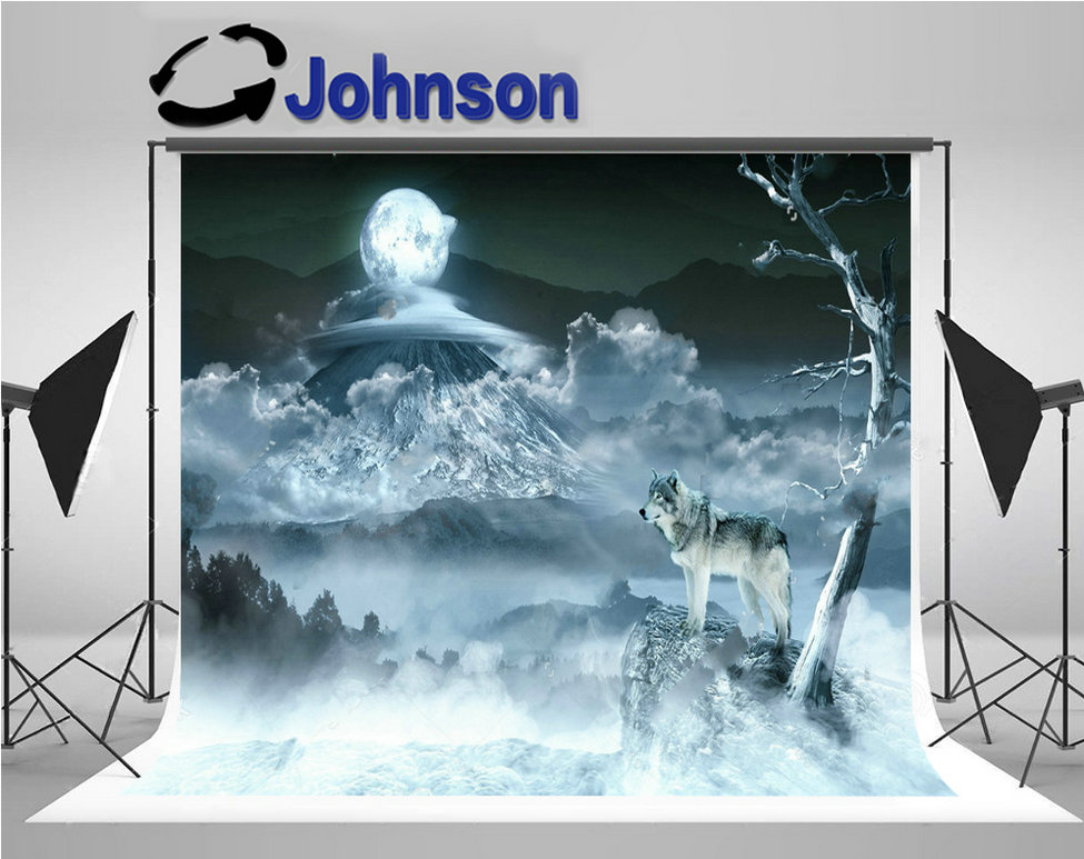 wall photography studio background Vinyl cloth High quality Computer print Clouds Full Moon Tree Mountain Wolf backdrop