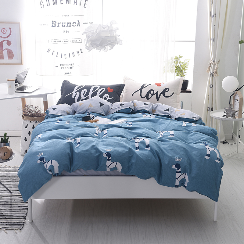 100% cotton Home Textile Lovely Puppy Crown Duvet Cover Pillowcase Bed Sheet King Queen Single Bedding Sets boys Kid Child Teen