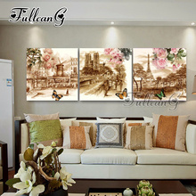 FULLCANG 3pcs diy diamond painting european landscape flower mosaic cross stitch full drill embroidery triptych hobby G1190