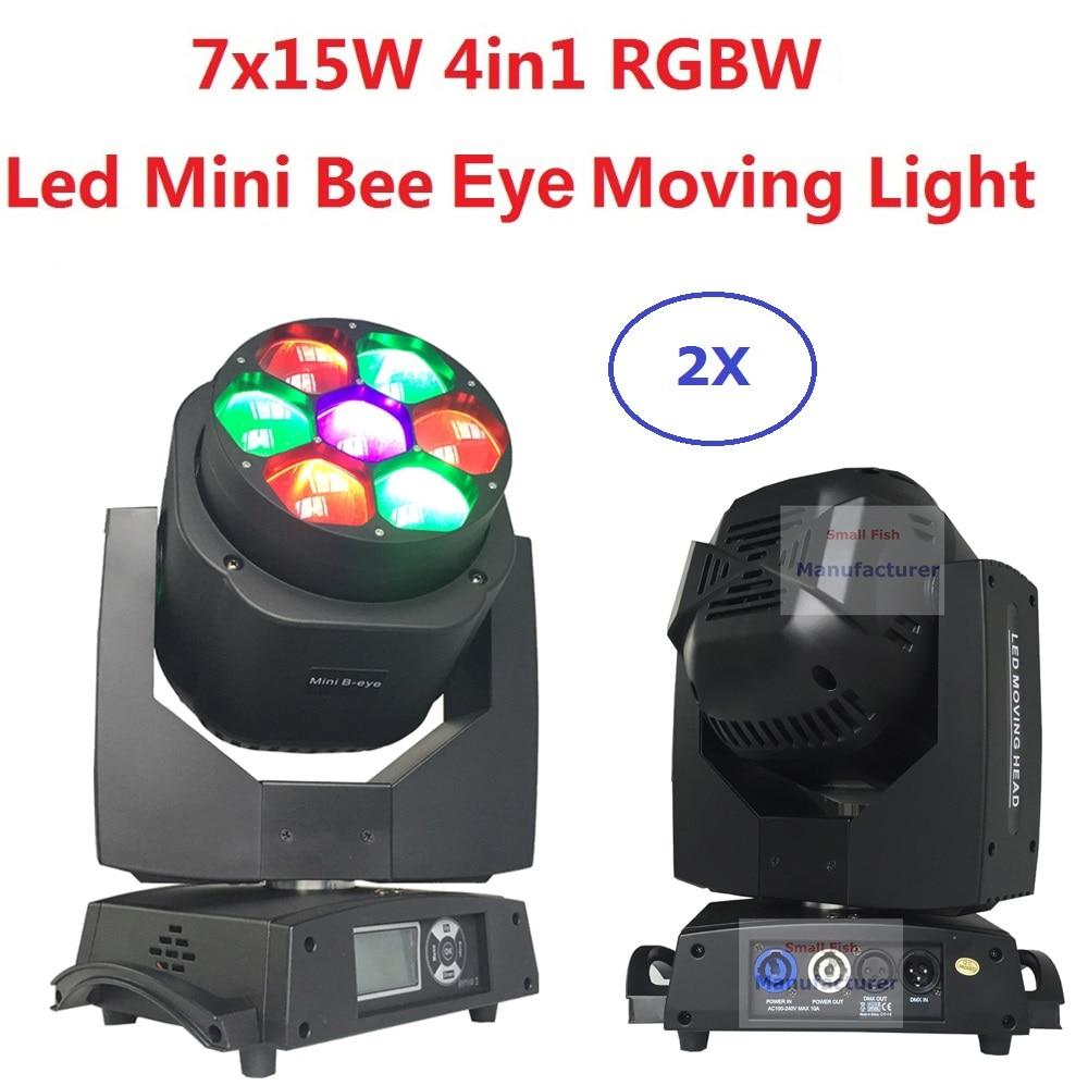 2xLot New Led Mini Bee Eye Moving Head Light 7x15W RGBW Professional Stage Lights 4-60 degree Zoom DJ DMX Disco Beam Wash Effect