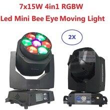 2 xLot Новый светодиодный мини пчелиный глаз движущийся головной свет 7×15 Вт RGBW профессиональное освещение для сцены 4-60 градусов зум DJ DMX луч для дискотеки эффект стирки