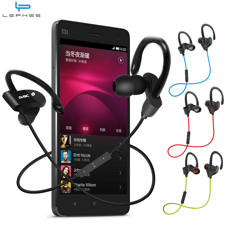 LEPHEE Bluetooth Earphone Sports Running Wireless Headset V4.1 Stereo Bass Portable Ear Hook Earphones w/ Mic Handsfree Neckband