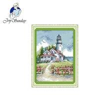 Joy Sunday New arrival Lighthouse (2) Cross stitch Embroidered Kit DMC 14CT DIY Handmade Set Needlework Home Decor Painting Gift