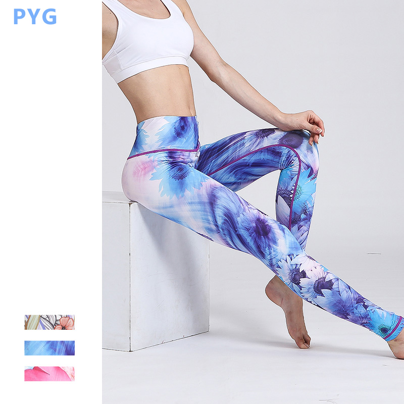 PYG Lotus Printed Yoga Pants Women High Waist Sport Printing Leggings Floral Fitness Running Tights Compression Sportswear Th04