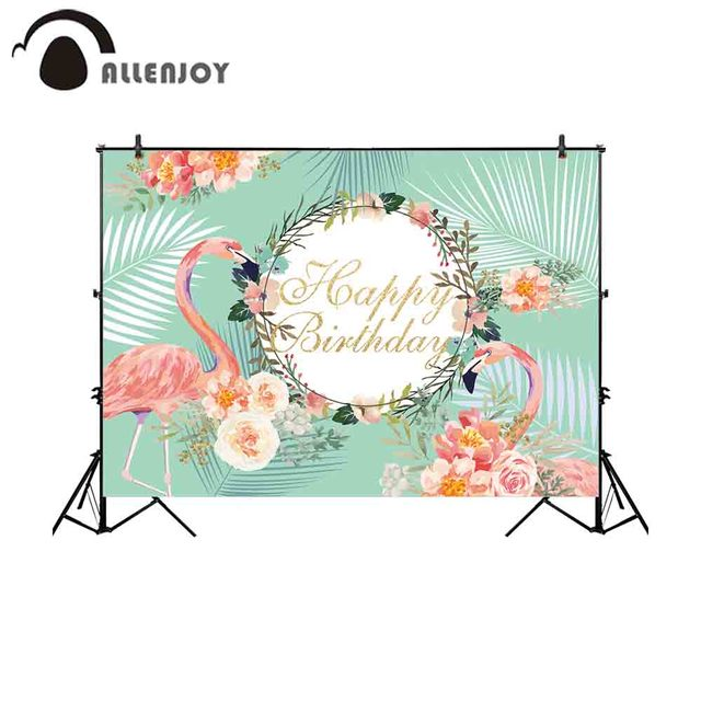 Allenjoy photography backdrops photocall pink flamingo tropical leaf floral happy birthday green background photography backdrop