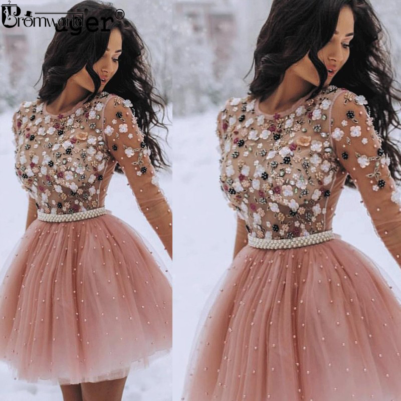 2019 Short Homecoming Dresses Pearls Beaded Handmade Flower Long Sleeves Prom Dresses Cocktail Dress