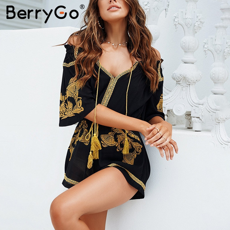 BerryGo Ethnic embroidery tassel   jumpsuit   romper Summer beach boho black short playsuit Women casual v neack overalls macacao