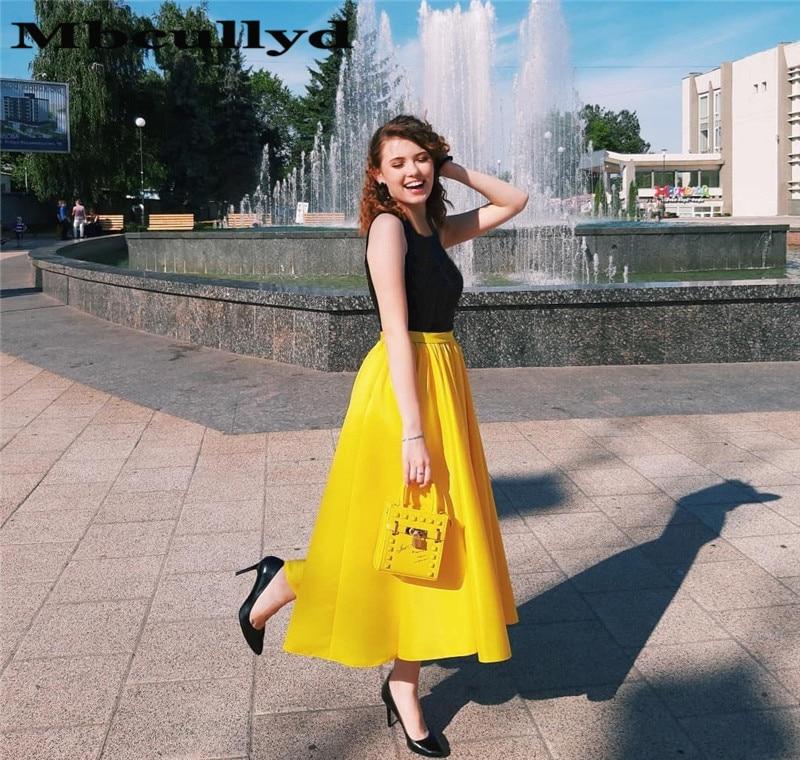 Mbcullyd noir et jaune a-ligne robe de bal longue 2019 avec poches formelle thé longueur robe robes de soirée Satin vestidos de fiesta