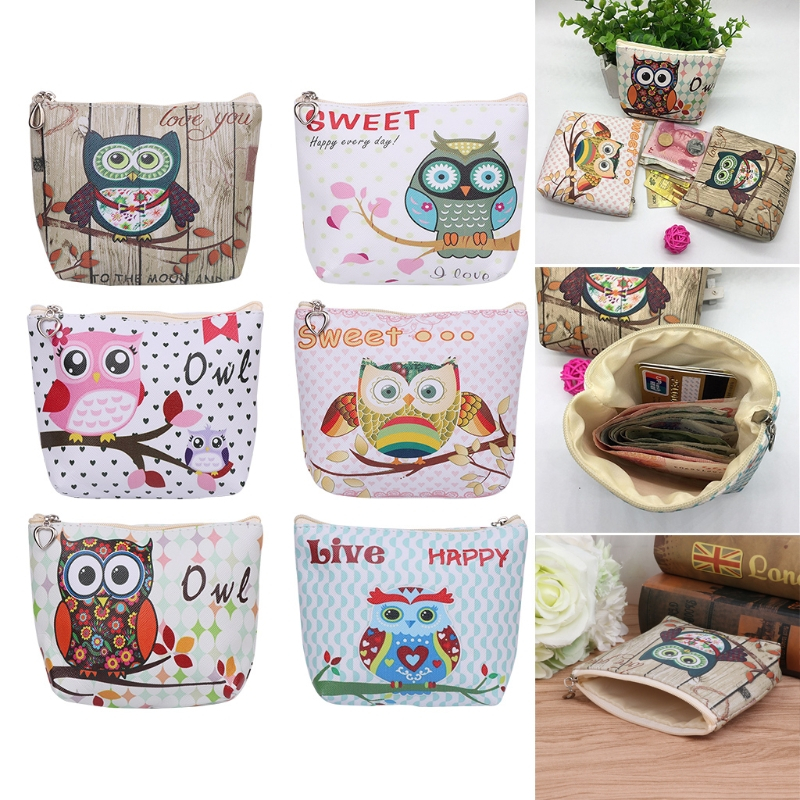 THINKTHENDO Fashion Women Girls Cute Owl Coin Purse Children Key Card Holder Wallet Bag Change Pouch Faux leather Handbags thinkthendo fashion women children coin purse wallet faux leather change bag zip mini pouch bag handbag 2017 new cute 7 colors