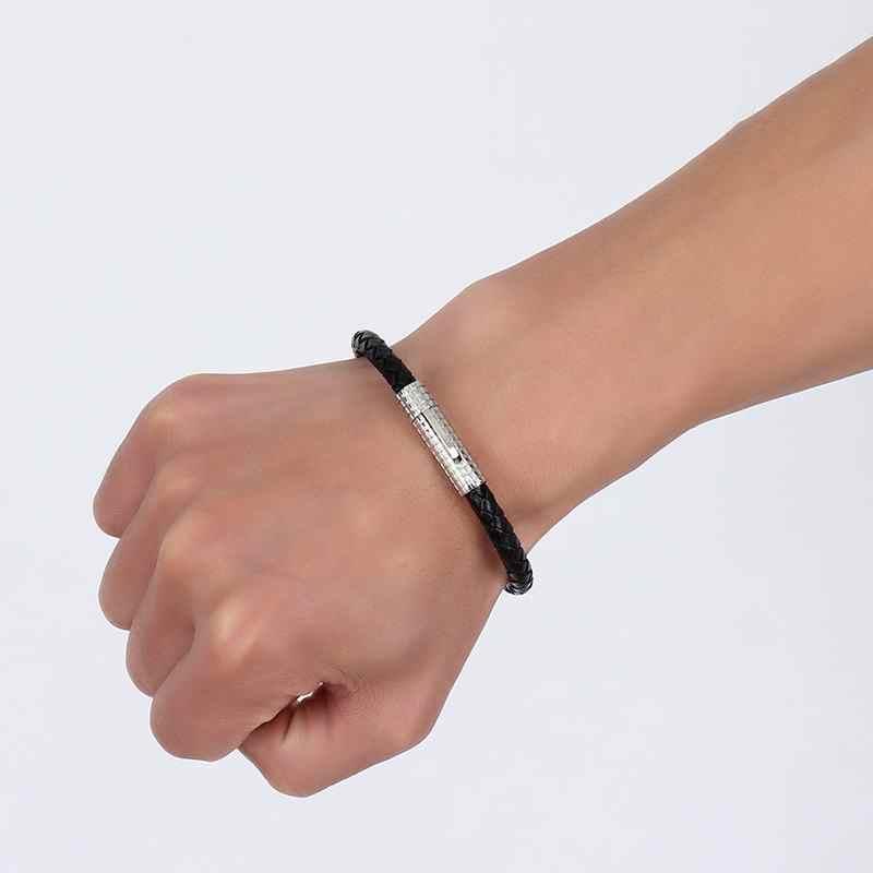 Pleciony pasek ze skóry bransoletka mankiet w kolorze czarnym z blokada ze stali nierdzewnej zapięcie dla bransoletka męska mężczyzna kobieta opaska na nadgarstek biżuteria unisex