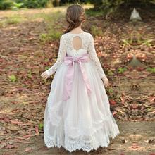 2019 Girl White Lace Flower Dresses Girls Bridesmaid Gowns Party Wedding Prom Pageant First Communion Children G506