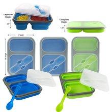 2 Fach Silikon Zusammenklappbaren Lunchbox mikrowelle lunchbox für kinder lunchbox nahrungsmittelbehälter bento box geschirr
