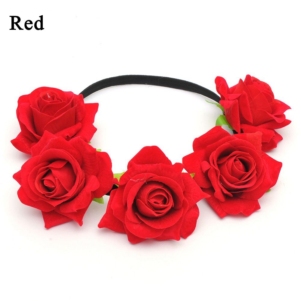 Okdeals 1PC Fashion Bohemia Style Rose Flower Headbands Floral Crown Hairband Wedding Hair Garland Bridal Girls Hair Acessories 8