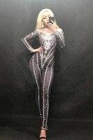 Новый черный ярко серебряными кристаллами Комбинезоны сексуальные Стразы боди этап Одежда для танцев Для женщин вечер праздновать Сияющий