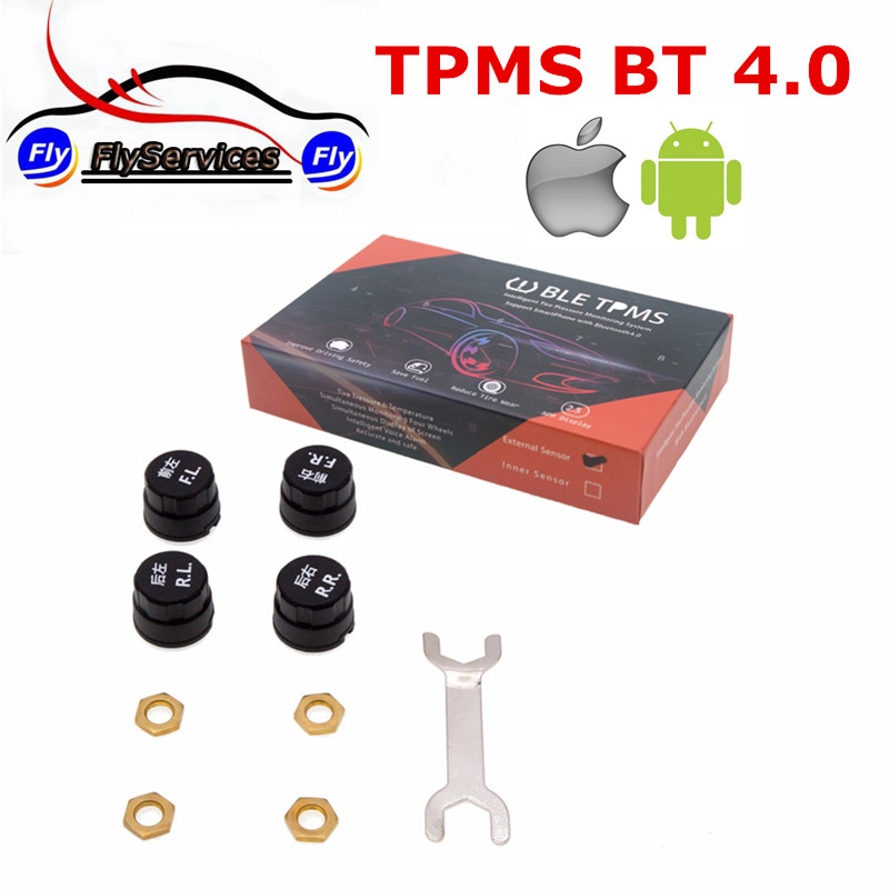 Smart Car TPMS Bluetooth 4.0 Auto Tyre Tire Pressure Monitoring System 4 Sensors Internal External for iOS Android Phone App