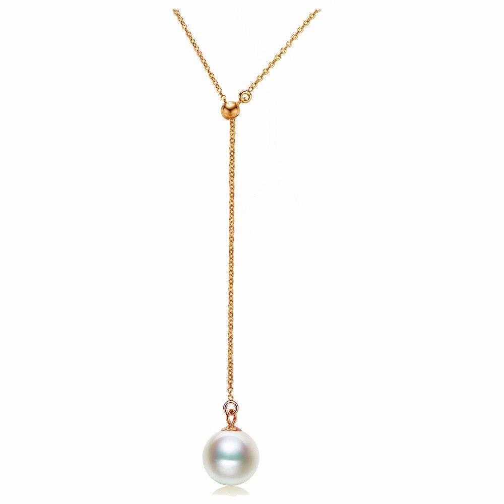 Sinya 18 К желтый белый розовое золото Y колье природных круглый белый фиолетовый розовый жемчуг Мода офисные женские ювелирные изделия ожерел