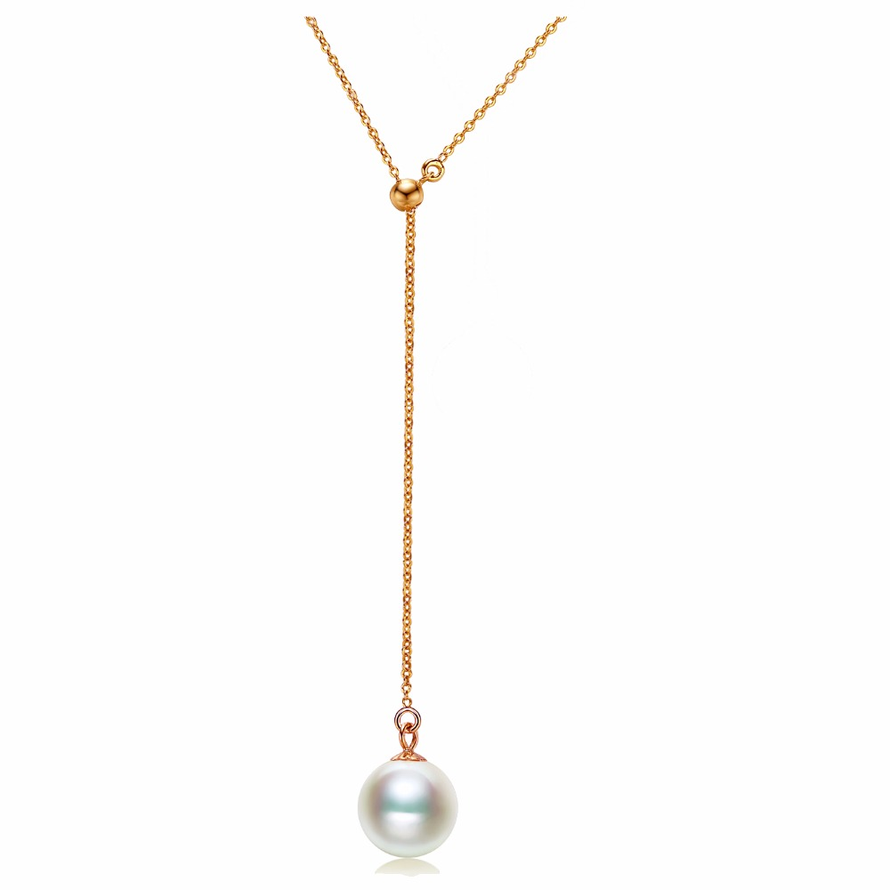 Sinya 18k yellow white rose Gold Y necklace set Natural round white purple pink pearl Trendy office women jewelry necklace yoursfs heart necklace for mother s day with round austria crystal gift 18k white gold plated
