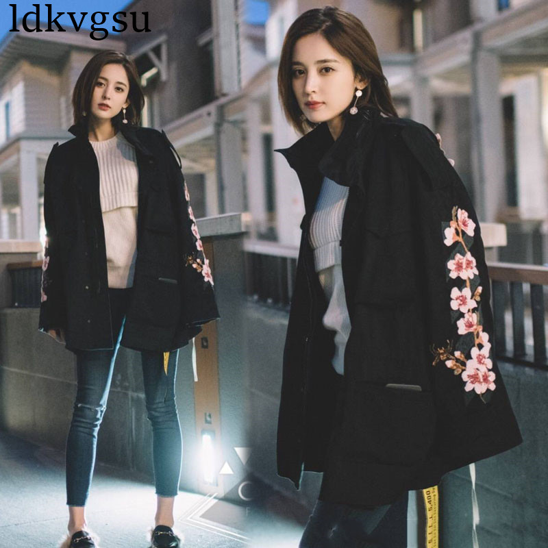 New 2020 Spring Autumn Long Trench Coats Harajuku BF Wind Black Outwear Female Cherry Embroidery Windbreaker For Women V23 image