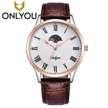 ONLYOU Lovers Watch Men Fashion Sun Moon Leather Strap Waterproof Wristwatch For Women Casual Simple Quartz Clock Gift Wholesale