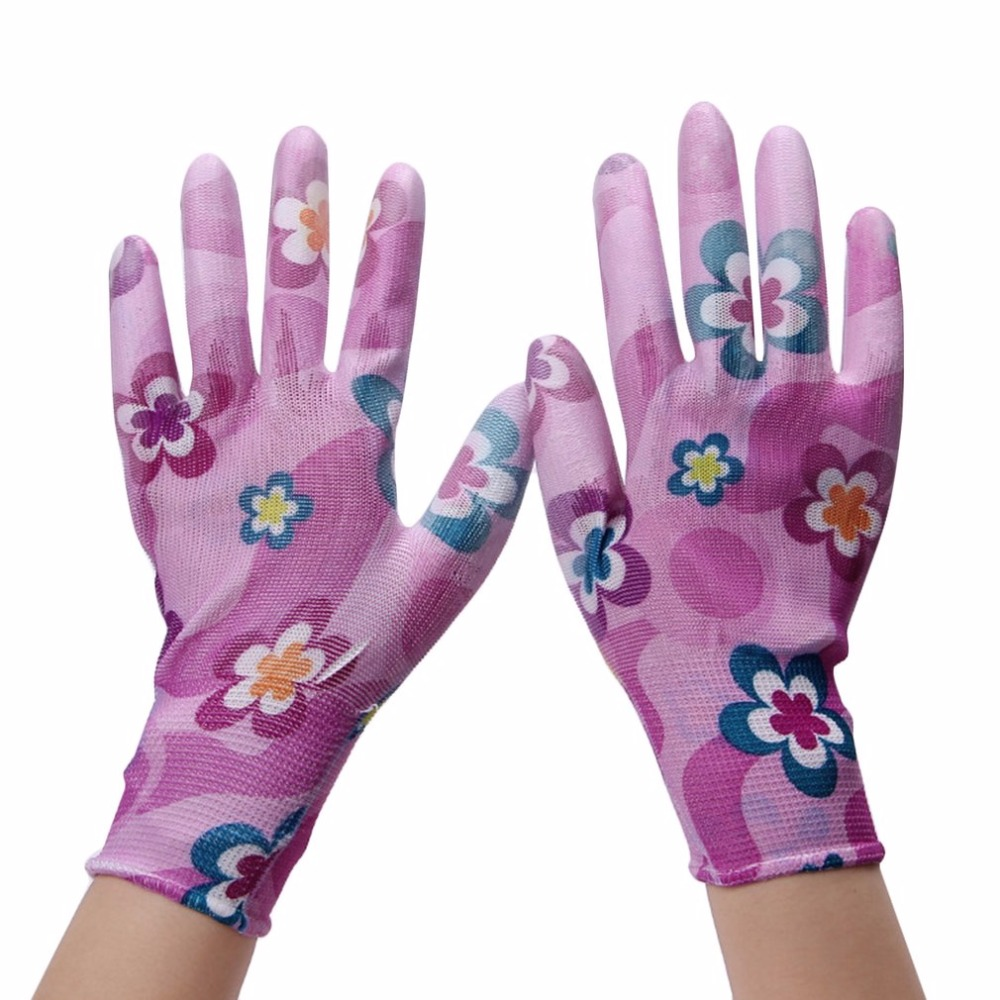 1Pair PU Nylon Gloves Hand Safely Security Protector Floral Gloves Wear-resistant Anti skid Work Gloves Free Shipping high quality hand tool gloves 12 pairs 700g cotton gloves wear resistant work thick gloves against high low temperature gloves