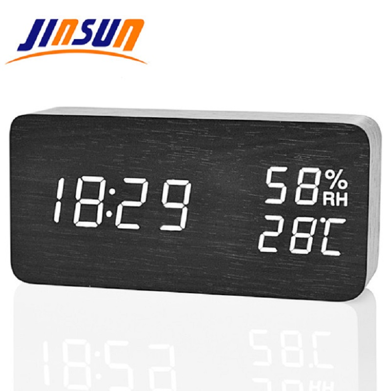 JINSUN Modern LED Alarm Clock Despertador Temperature Humidity Electronic Desktop Digital Table Clocks
