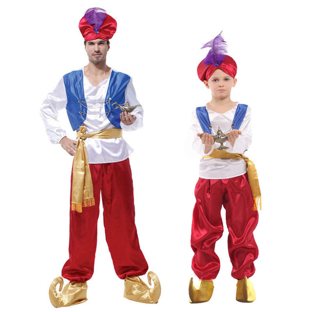 Umorden Purim Carnival Party Halloween Costumes Adult Men Aladdin Costume  Arab Aladdin Prince Cosplay Kids Boys Family c5de7215c24d
