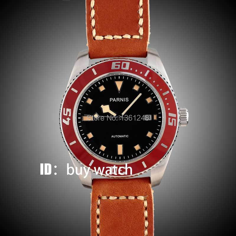 все цены на 43mm Parnis black dial orange marks red bezel 10ATM sapphire glass miyota Automatic mens Watch 150 онлайн