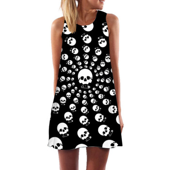 Raisevern Skull Printed Multicolor Vintage Tank Dress Women Sleeveless Natural Boho Bohemian Casual Beach O-neck Mini Dresses  1
