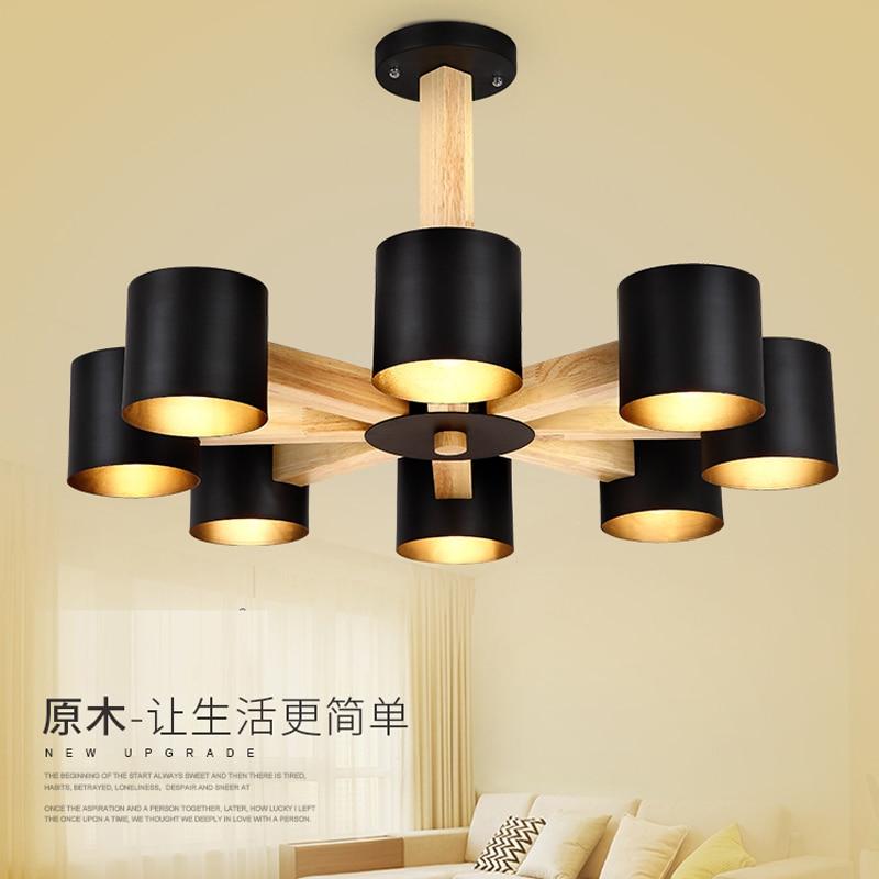 led lustr lampa do jídelny nordic jednoduché dřevěné umění lustr osvětlení moderní AC 110V-260V ložnice zlepšení domova