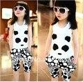 2015 niños de moda la ropa del verano de la panda animales chaleco + pantalones traje 1 unids baby girl set