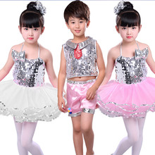 Sequins Child Jazz Stage Costumes Girls Spaghetti Straps Mesh Tutu Dress Party Birthday Day Festival Glitter Sequin Dance Set singapore jazz festival 2017 saturday