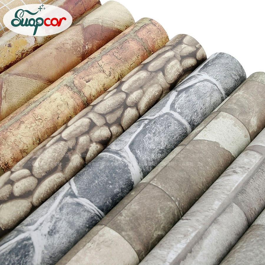 Self Adhesive Wallpaper Rolls Removable Vinyl PVC Brick Stone Wall Paper Living Room Bathroom ...