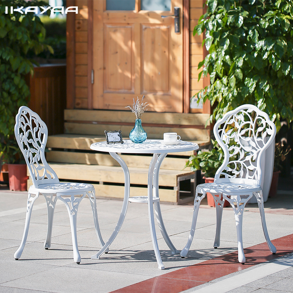 IKayaa 3PCS Modern Outdoor Patio Set Aluminum Porch Balcony Black White  Garden Set Furniture Leaves Design