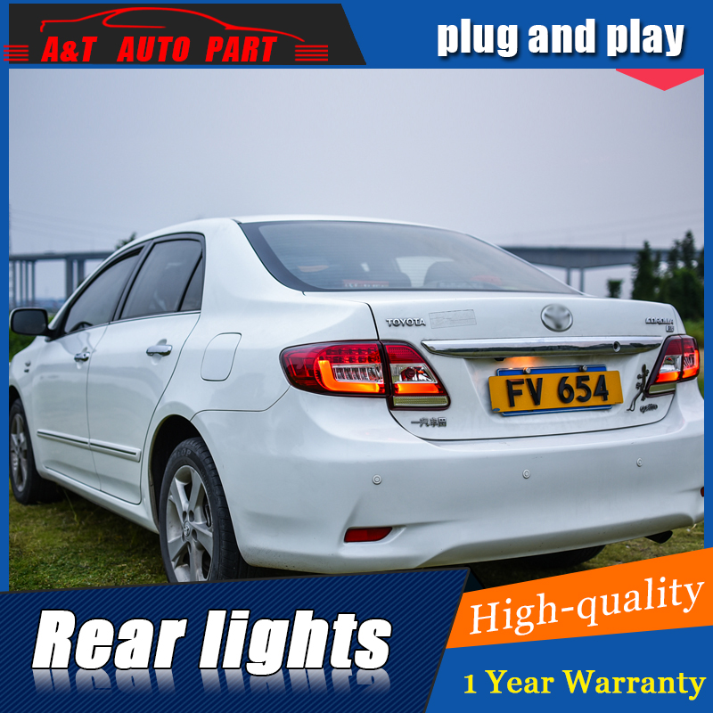 Car Styling LED Tail Lamp for Toyota Corolla Taillight assemnly 2011-2013 for Corolla Rear Light DRL+Turn Signal light with 4pcs akd car styling led drl for toyota corolla 2014 2015 new altis eye brow light led external lamp signal parking accessories