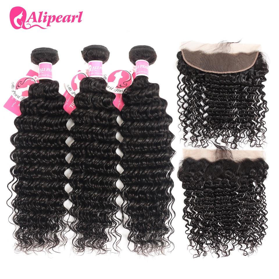 AliPearl Hair 3 Bundles Brazilian Deep Wave 100% Human Hair Bundles With Frontal Natural Black Remy Hair Extension Free Shipping