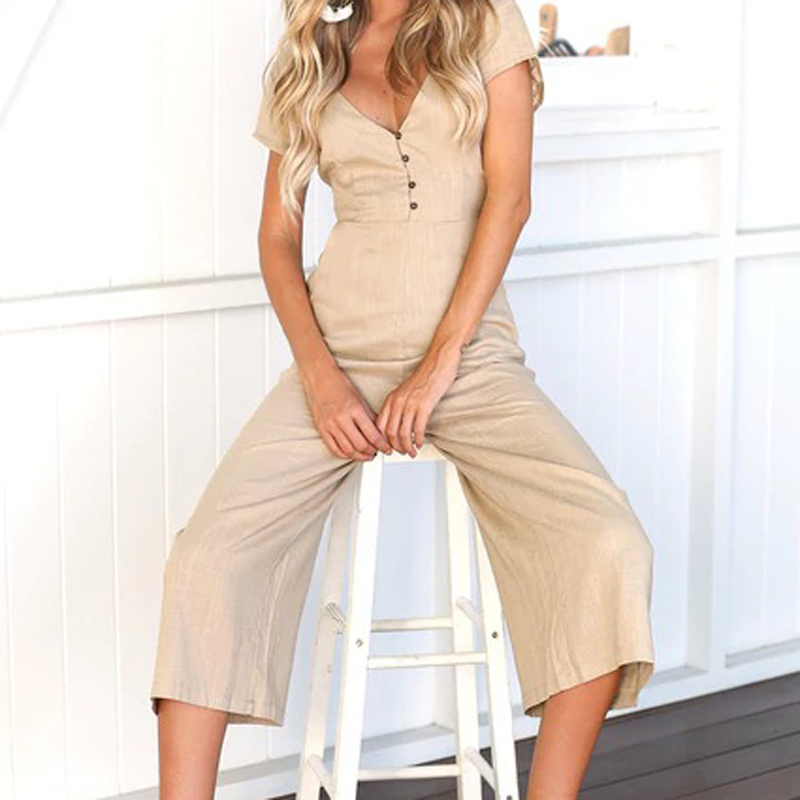 Women Calf-Length Buttons Pockets Jumpsuits Femme Summer New Wide Leg Pants Short Sleeve V-neck Rompers Overalls Plus Size GV263