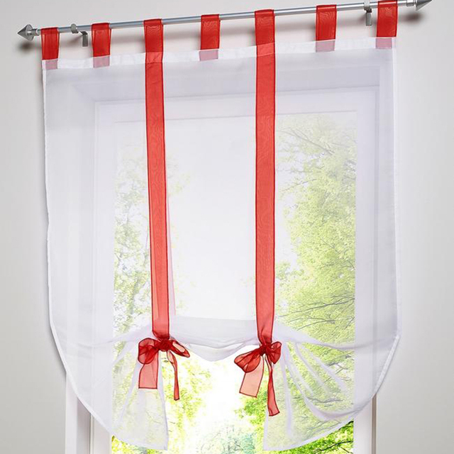 Bon Modern Roman Blinds Finished Tulle Kitchen Curtains Quality Lift Up Ballon Window  Curtain Short Curtain For