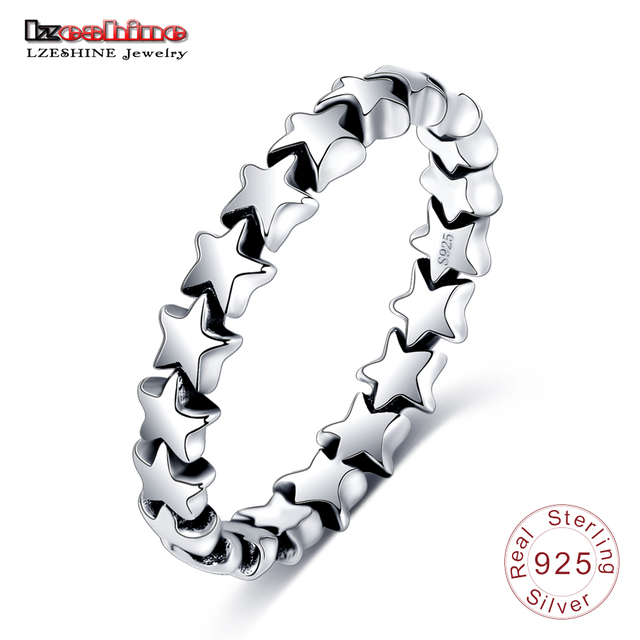 LZESHINE 2018 Fashion Rings 100% Authentic 925 Sterling Silver Star Shape Finger Ring For Women Wedding PSRI0008-B