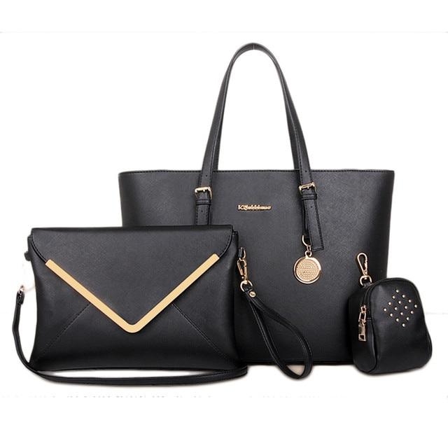 59fa4b2ab30c 3 Bags Per Set Handbag Women Office Messenger Casual Bag Totes PU Leather  2017 New Fashion