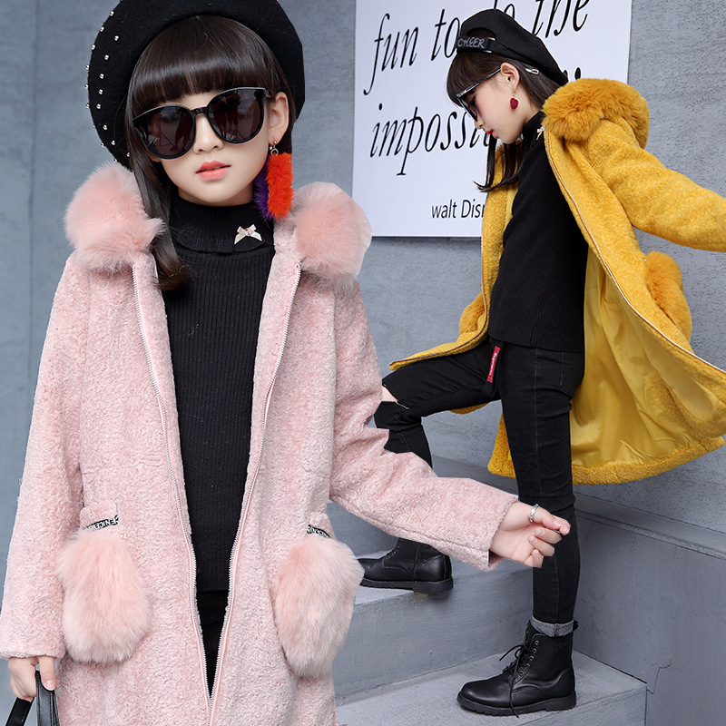 Girls jacket coat Faux Fur hooded autumn winter fashion pink yellow gray long outerwear for 5 6 7 8 9 10 11 12 13 14 years kid long black girls down coat winter solid 80% white duck down fur hooded fashion pink for 10 12 14 years grils outerwear