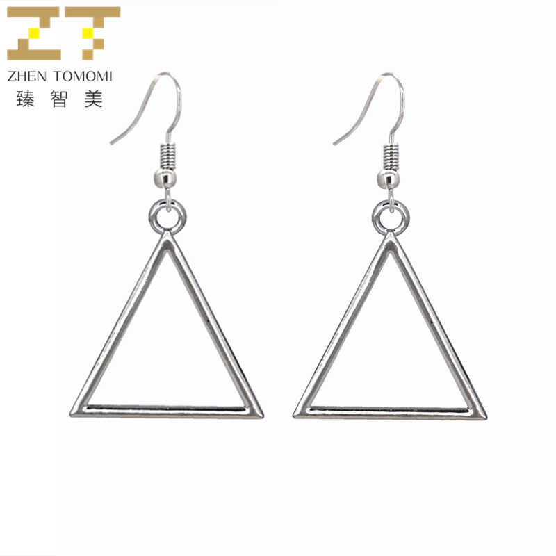 2019 New Hot Fashion Brincos Oorbellen Geometric Silver Plated Bijoux Simple Hollow Triangle Drop Earrings For Women Jewelry